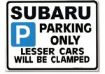 Subaru Car Parking Sign - Gift for impreza sti  legacy 4wd turbo models - Size Large 205 x 270mm
